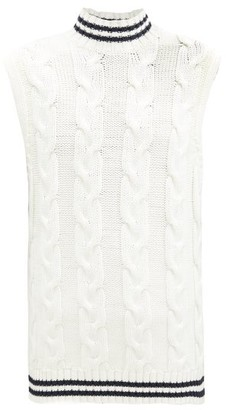 Ganni Cable-knit Cotton-blend Sleeveless Sweater - Ivory