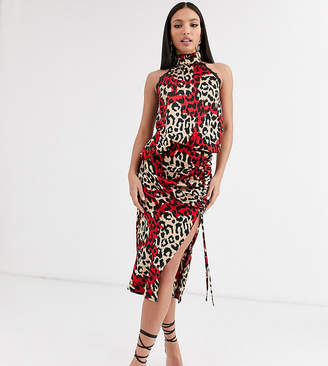 Outrageous Fortune Tall ruched front midi skater skirt in contrast leopard print-Multi