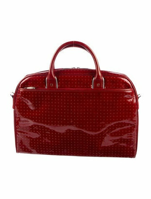 Tumi Patent Leather Messenger Bag Red