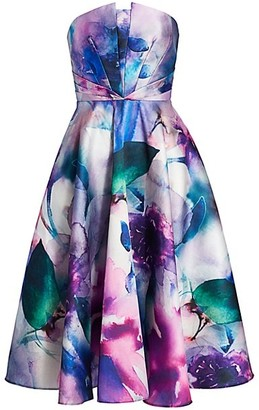 Marchesa Notte Strapless Floral Printed Mikado Fit-&-Flare Dress