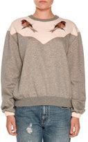 Stella McCartney Bird-Embroidered Crewneck Sweatshirt, Gray
