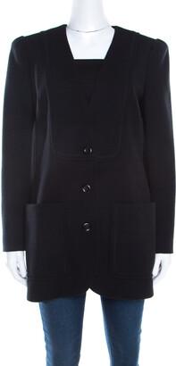 Chloé Black Wool Power Shoulder Collarless Button Front Jacket M