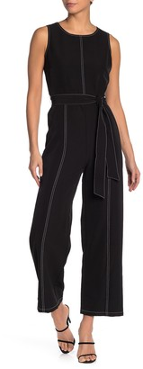 T Tahari Top Stitch Crew Neck Jumpsuit