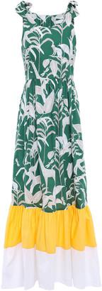 Borgo de Nor Gathered Printed Cotton-poplin Maxi Dress