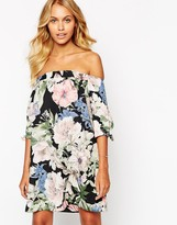 Love Off Shoulder Bold Floral Shift Dress