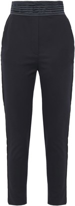 Just Cavalli Cropped Satin-trimmed Cotton-blend Slim-leg Pants
