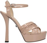 Grey Mer Sandals In Powder Patent Leather