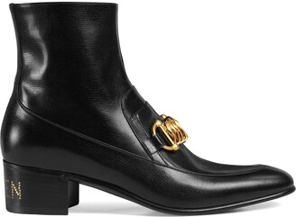 Gucci leather Horsebit chain boots