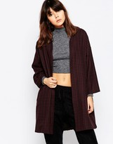 NATIVE YOUTH Brushed Plaid Duster Coat