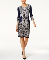 JM Collection Petite Printed Keyhole Sheath Dress