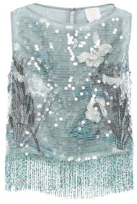 Anna Sui Fringed Embellished Tulle Top