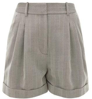 Racil Max High-rise Herringbone-wool Shorts - Womens - Grey