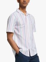 John Lewis & Partners Revere Collar Multi Stripe Short Sleeve Oxford Shirt, White/Multi