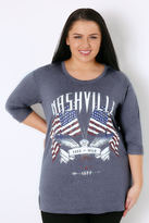 "Yours Clothing Denim Blue ""Nashville Free & Wild"" Jersey Top With 3/4 Length Sleeves"