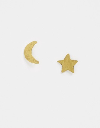 People Tree handmade star and moon earrings