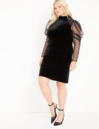 ELOQUII Novelty Sleeve Velvet Dress