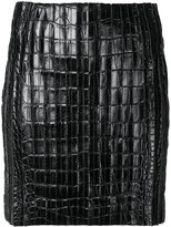 Thierry Mugler crocodile effect mini skirt - women - Lamb Skin - 38