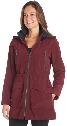 Fleet Street Petite Faux-Silk Hooded Rain Jacket