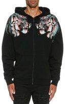Marcelo Burlon County of Milan 3D Tiger Zip-Front Hoodie, Black
