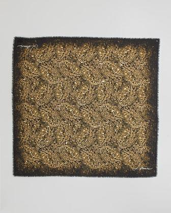 Lanvin Diamond-Print Square Scarf, Topaz