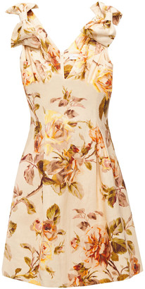 Zimmermann Resistance Bow-detailed Floral-print Linen Mini Dress