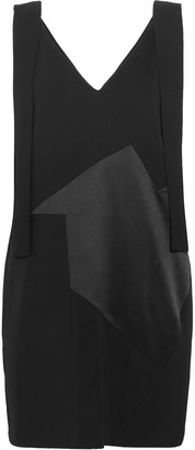 Victoria Victoria Beckham Paneled Twill, Satin And Crepe Mini Dress