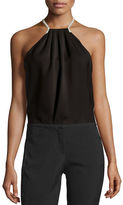 Halston Halter-Neck Top w/ Crossover Chain Back
