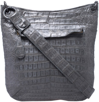 Nancy Gonzalez Grey Crocodile Messenger Bag