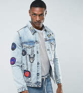 Asos TALL Denim Jacket with Badges in Mid Wash