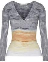 Kain Label Rose Wrap-Effect Tie-Dyed Ribbed Cotton And Modal-Blend Top