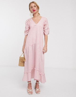 Lost Ink maxi smock dress with tiered skirt in stripe