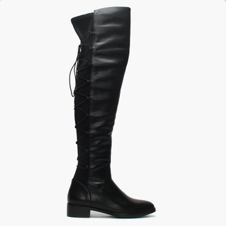 Moda In Pelle Laci Black Leather Lace Back Over The Knee Boots