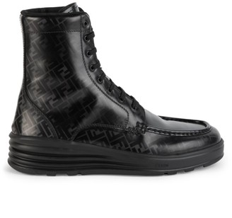 Fendi FF Logo Leather Combat Boots