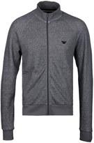 Emporio Armani Grey Marl Soft Cotton Zip Through Sweatshirt
