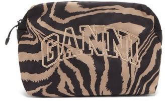 Ganni Logo-embroidered Tiger-print Makeup Bag - Brown Multi