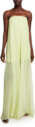 Cushnie Strapless Wide-Leg Jumpsuit