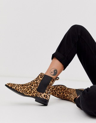ASOS DESIGN April leather chelsea boots in leopard pony