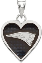 Women's NFL LogoArt Sterling Silver Gold Plated New England Patriots Enamel Heart Pendant