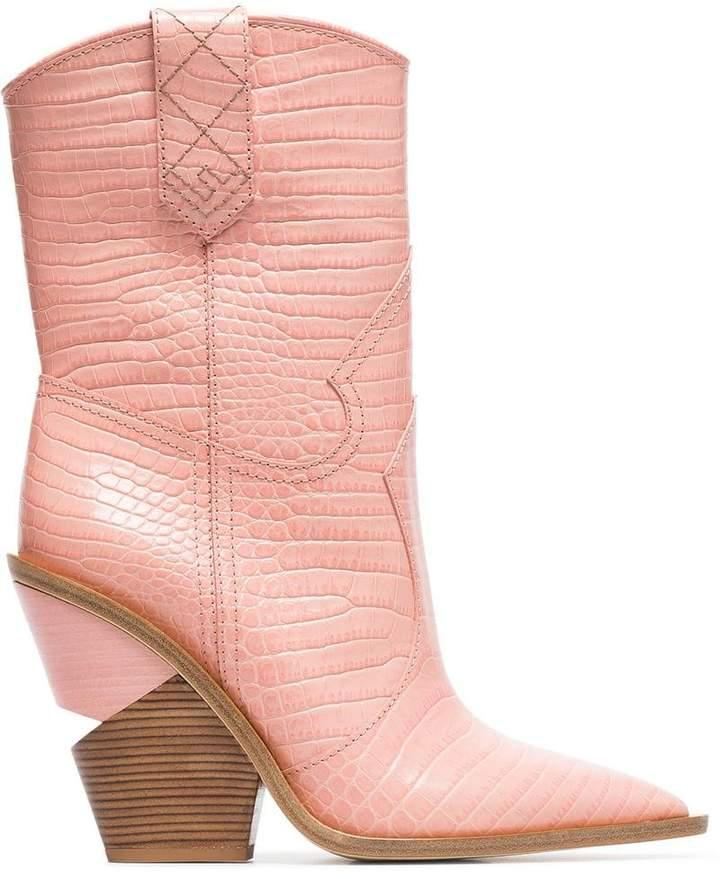 Fendi Cutwalk 100 crocodile-embossed ankle boots