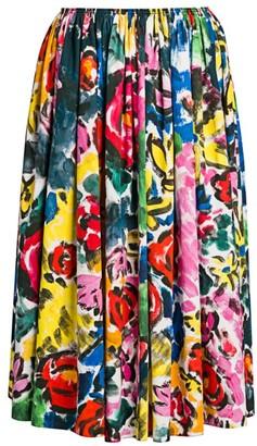 Marni Pleated Floral Midi Skirt