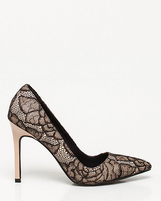 Le Château Lace & Faux Leather Pointy Toe Pump