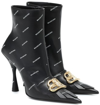 Balenciaga Fringe Knife BB leather ankle boots