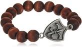 Ettika Fleur De LYS Coat of Arms Elastic Brown Wood Bead Bracelet