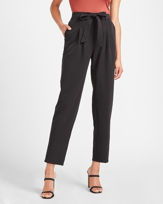 Express Super High Waisted Belted Twill Ankle Pant