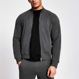 River Island MCMLX dark grey velour zip sweatshirt