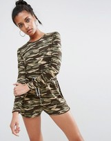 Asos Long Sleeve Romper in Camo Print with Contrast Tie