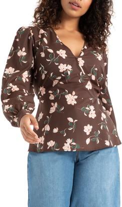 ELOQUII Floral Peplum Top