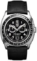 Luminox P-38 LIGHTNINGTM Chronograph Men's Quartz watch with Black dial featuring LLT light Technology 44 millimeters Stainless Steel case and Black Leather Strap XA.9441