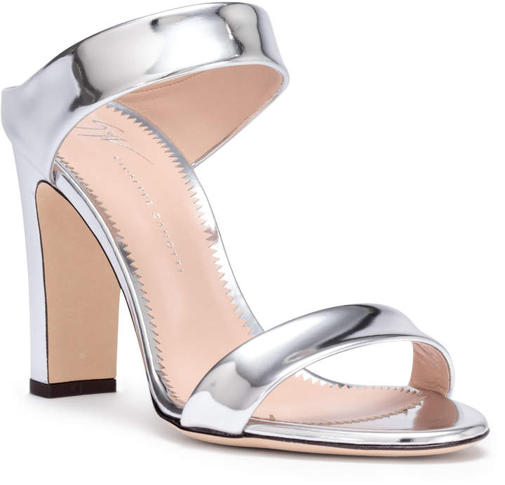 Giuseppe Zanotti Metallic silver leather block heel sandals