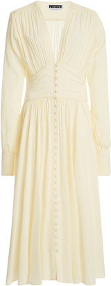 Rotate by Birger Christensen Tracy Button-Front Crepe Midi Dress